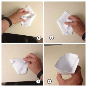 Origami paper cup steps 5-8