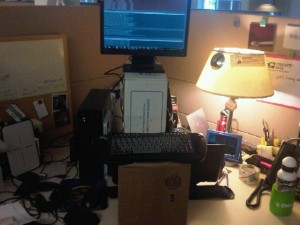 DYI standing desk using boxes