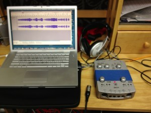 Audio interface, MacBook Pro, Audacity DAW, headphones