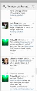 A TweetDeck column set to find the weekly discussion among Steampunk fans via the hashtag #steampunkchat